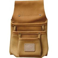 Three Pocket Tan Leather Pouch - C-1602-TAN