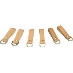 Tan Leather Lanyard Loops 6 Pack - C-SB-6BLR